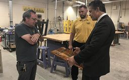 Congressman Tours Clarkston Construction Tech Program